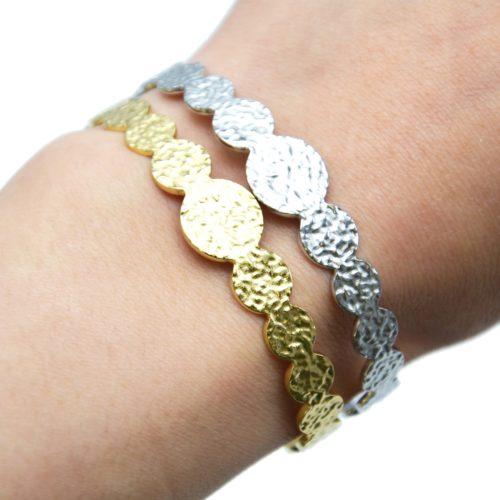 Bracelet-Jonc-Ouvert-avec-Multi-Cercles-Marteles-Acier