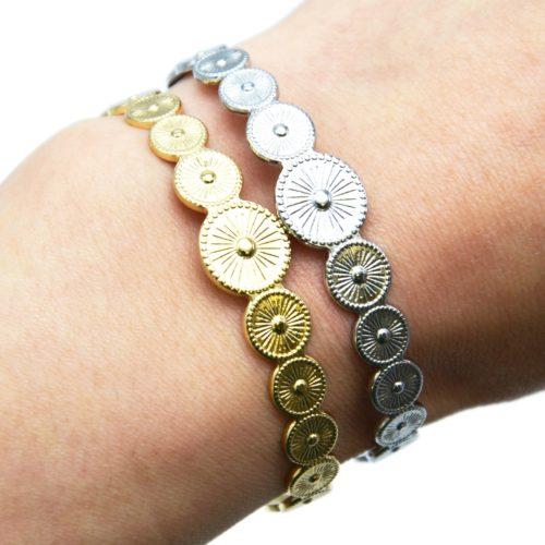 Bracelet-Jonc-Ouvert-avec-Multi-Cercles-Motif-Soleil-Acier