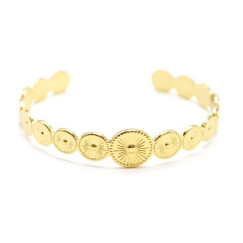 Bracelet-Jonc-Ouvert-avec-Multi-Cercles-Motif-Soleil-Acier-Dore