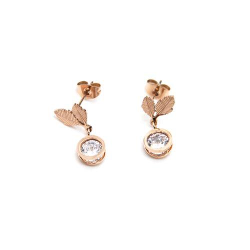 Boucles-dOreilles-Mini-Feuilles-Acier-Or-Rose-avec-Pierre-Ronde-Zirconium