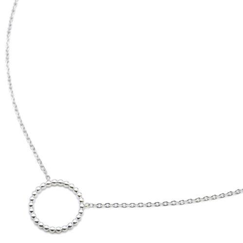 Collier-Fine-Chaine-Pendentif-Cercle-Contour-Billes-Acier-Argente
