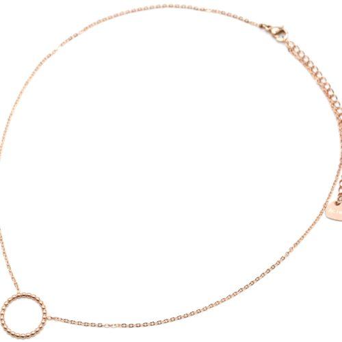 Collier-Fine-Chaine-Pendentif-Cercle-Contour-Billes-Acier-Or-Rose