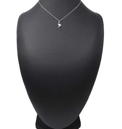 Collier-Fine-Chaine-Argent-925-Pendentif-Flamant-Rose-Strass-Zirconium