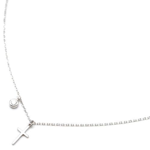 Collier-Fine-Chaine-Argent-925-Pendentif-Croix-et-Pierre-Ronde-Zirconium