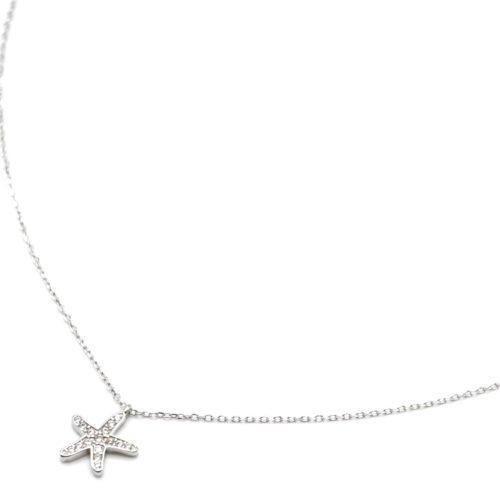 Collier-Fine-Chaine-Argent-925-Pendentif-Etoile-de-Mer-Strass-Zirconium