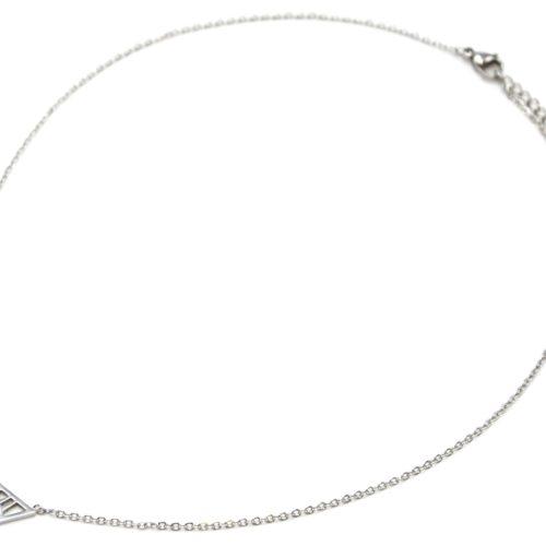 Collier-Fine-Chaine-Acier-Argente-Pendentif-Triangle-Inverse-Motif-Oeil