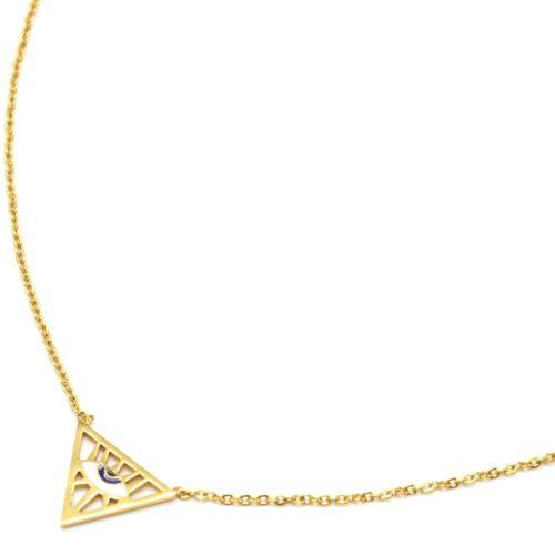 Collier-Fine-Chaine-Acier-Dore-Pendentif-Triangle-Inverse-Motif-Oeil