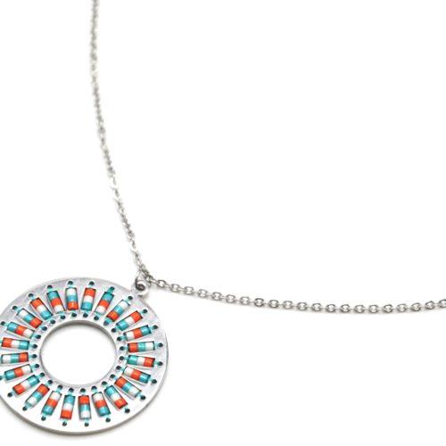 Collier-Fine-Chaine-Acier-Argente-Pendentif-Cercle-Motif-Soleil-Perles-Rocaille-Turquoise