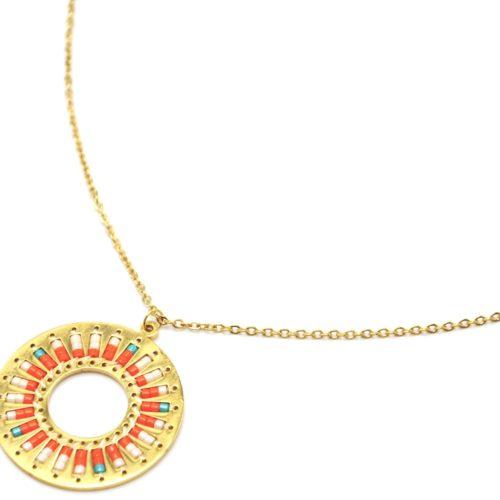 Collier-Fine-Chaine-Acier-Dore-Pendentif-Cercle-Motif-Soleil-Perles-Rocaille-Orange