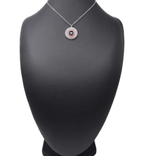Collier-Fine-Chaine-Acier-Argente-Pendentif-Cercle-Oeil-Motif-Soleil-Perles-Rocaille-Rouge
