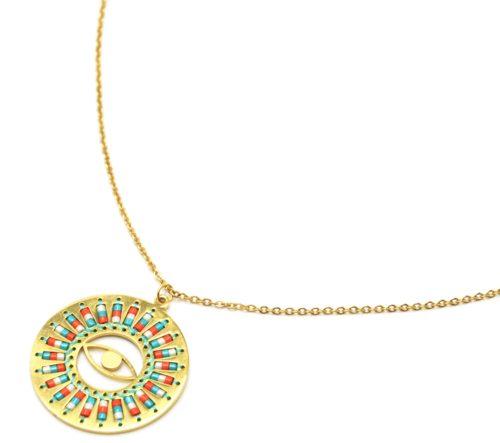 Collier-Fine-Chaine-Acier-Dore-Pendentif-Cercle-Oeil-Motif-Soleil-Perles-Rocaille-Turquoise