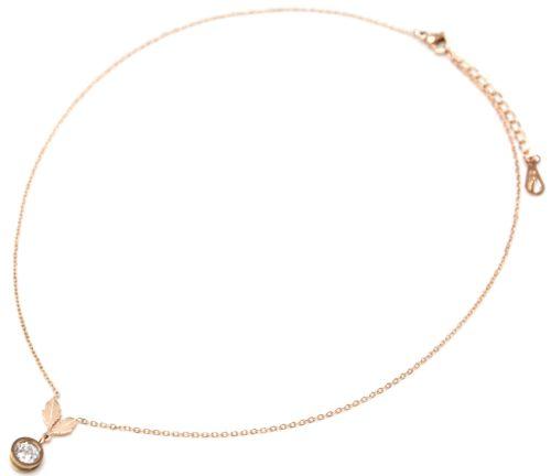 Collier-Fine-Chaine-Acier-Or-Rose-Pendentif-Feuilles-et-Pierre-Ronde-Zirconium