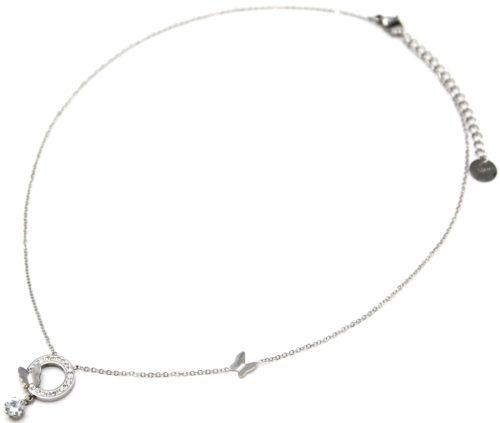 Collier-Fine-Chaine-Acier-Argente-Pendentif-Cercle-Strass-Papillons-et-Pierre-Ronde