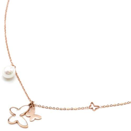 Collier-Fine-Chaine-Acier-Or-Rose-Pendentif-Papillons-Nacre-et-Perle-Ecru