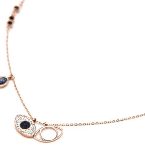 Collier-Fine-Chaine-Acier-Or-Rose-Pendentif-Oeil-Strass-et-Pierre-Goutte-Bleu-Nuit