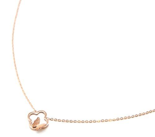 Collier-Fine-Chaine-Acier-Or-Rose-Pendentif-Trefle-Nacre-et-Papillon-Paillettes