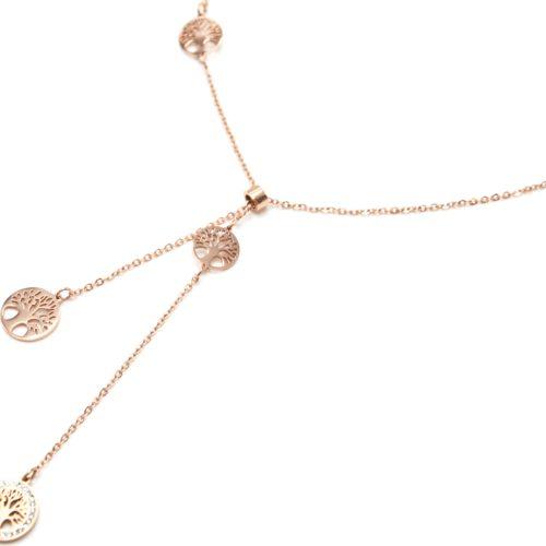 Collier-Fine-Chaine-Pendentif-Y-Cercles-Arbre-de-Vie-Acier-Or-Rose-et-Strass