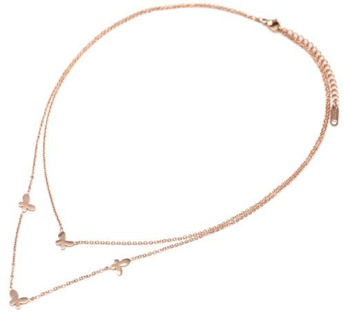 Collier-Double-Chaine-Acier-Or-Rose-avec-Charms-Mini-Papillons