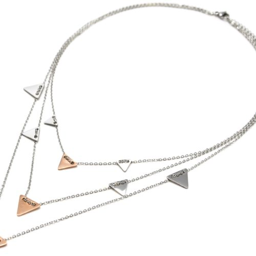 Collier-Triple-Chaine-Pampilles-Triangles-Inverses-Acier-Argente-Or-Rose