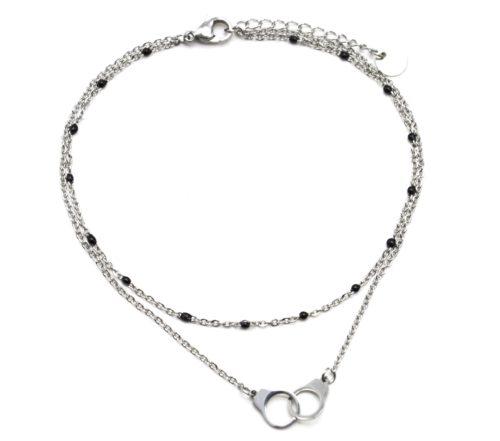 Double-Chaine-Cheville-Acier-Argente-et-Mini-Perles-Noires-avec-Charm-Menottes