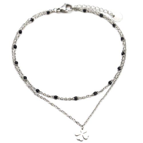 Double-Chaine-Cheville-Acier-Argente-et-Mini-Perles-Noires-avec-Charm-Trefle