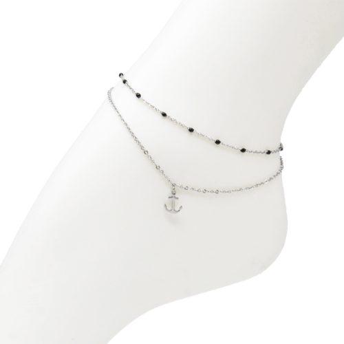 Double-Chaine-Cheville-Acier-Argente-et-Mini-Perles-Noires-avec-Charm-Ancre-Marine