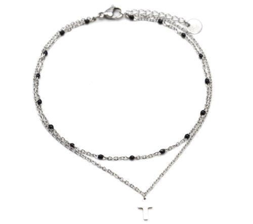 Double-Chaine-Cheville-Acier-Argente-et-Mini-Perles-Noires-avec-Charm-Croix