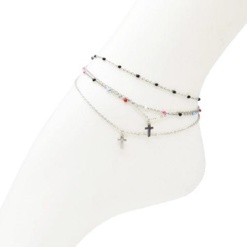 Double-Chaine-Cheville-Acier-Argente-et-Mini-Perles-Email-avec-Charm-Croix