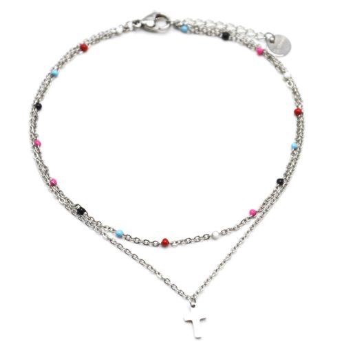 Double-Chaine-Cheville-Acier-Argente-et-Mini-Perles-Multicolore-avec-Charm-Croix