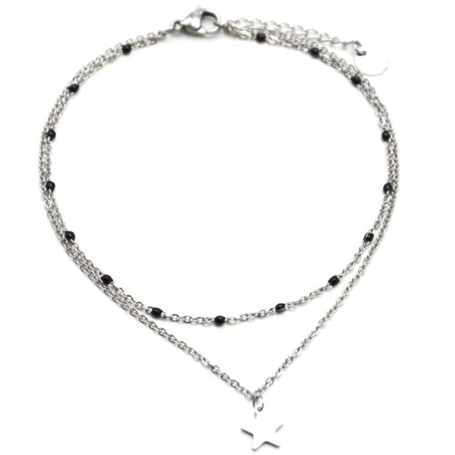 Double-Chaine-Cheville-Acier-Argente-et-Mini-Perles-Noires-avec-Charm-Etoile