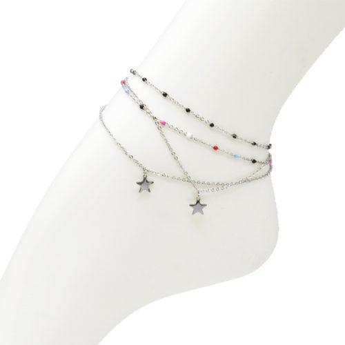 Double-Chaine-Cheville-Acier-Argente-et-Mini-Perles-Email-avec-Charm-Etoile