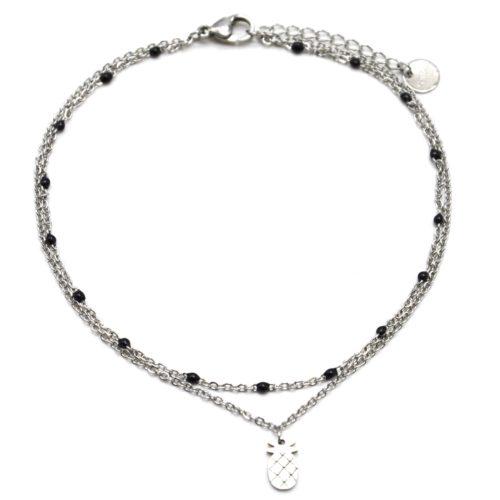 Double-Chaine-Cheville-Acier-Argente-et-Mini-Perles-Noires-avec-Charm-Ananas