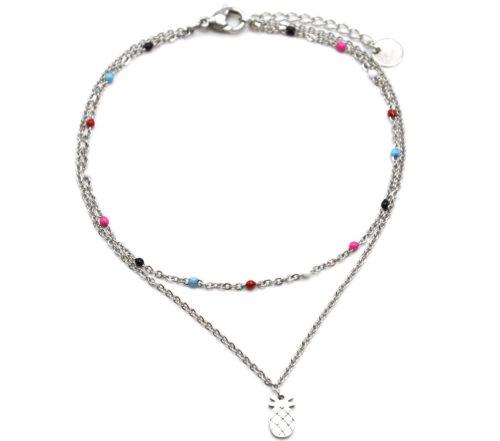 Double-Chaine-Cheville-Acier-Argente-et-Mini-Perles-Multicolore-avec-Charm-Ananas