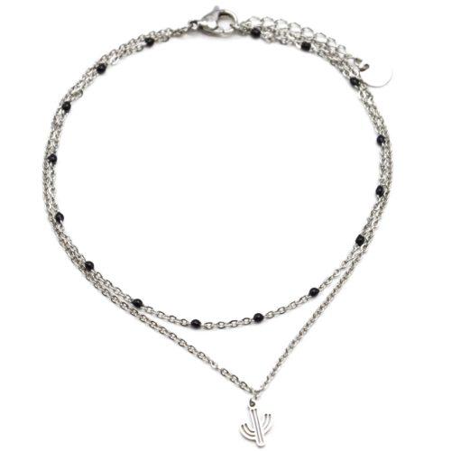 Double-Chaine-Cheville-Acier-Argente-et-Mini-Perles-Noires-avec-Charm-Cactus