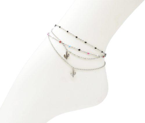 Double-Chaine-Cheville-Acier-Argente-et-Mini-Perles-Email-avec-Charm-Cactus