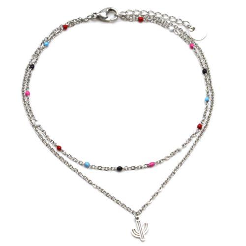 Double-Chaine-Cheville-Acier-Argente-et-Mini-Perles-Multicolore-avec-Charm-Cactus