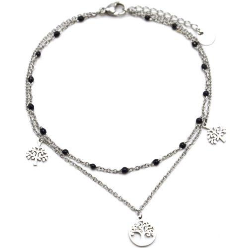 Double-Chaine-Cheville-Acier-Argente-et-Mini-Perles-Noires-avec-Charms-Arbre-de-Vie