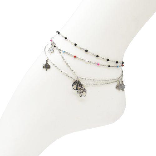 Double-Chaine-Cheville-Acier-Argente-et-Mini-Perles-Email-avec-Charms-Arbre-de-Vie
