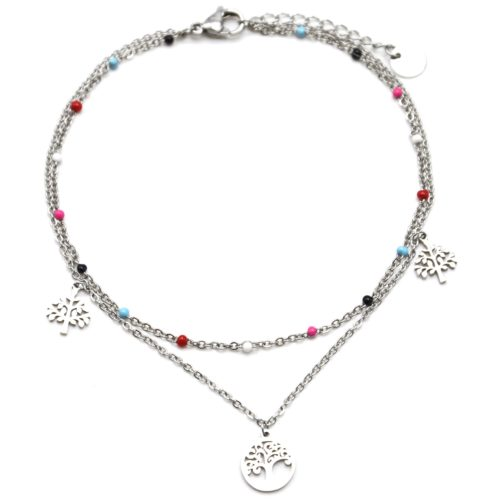 Double-Chaine-Cheville-Acier-Argente-et-Mini-Perles-Multicolore-avec-Charms-Arbre-de-Vie