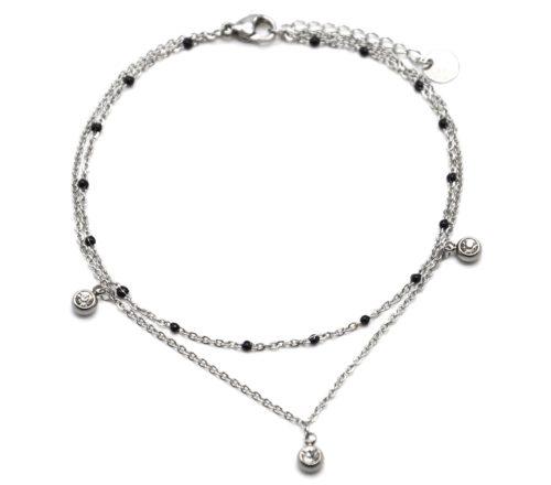 Double-Chaine-Cheville-Acier-Argente-et-Mini-Perles-Noires-avec-Charms-Pierres