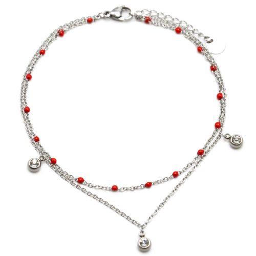 Double-Chaine-Cheville-Acier-Argente-et-Mini-Perles-Rouges-avec-Charms-Pierres