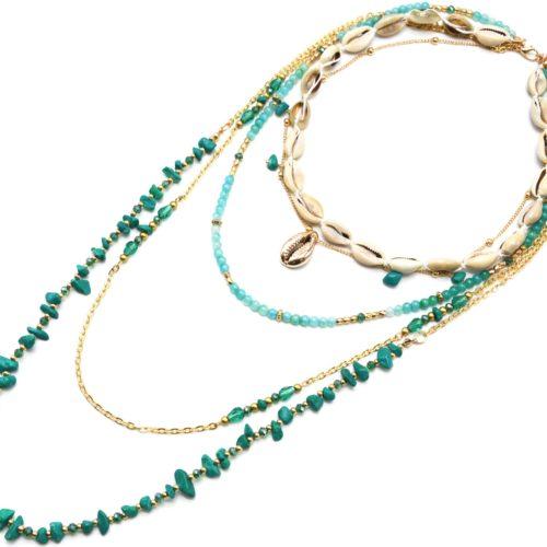 Sautoir-Collier-Multi-Rangs-Perles-Verre-et-Pierres-Vertes-avec-Cauris