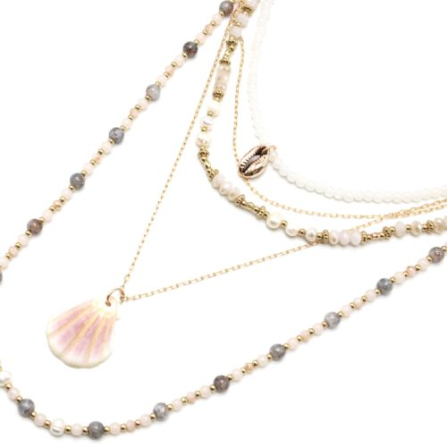 Sautoir-Collier-Multi-Rangs-Perles-Verre-Eau-Douce-et-Pierres-Rose-Pale-avec-Coquillage-et-Cauri