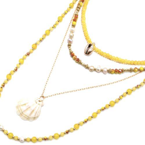 Sautoir-Collier-Multi-Rangs-Perles-Verre-Eau-Douce-et-Pierres-Moutarde-avec-Coquillage-et-Cauri