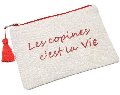 Trousse-Pochette-Toile-Message-Les-Copines-C-est-La-Vie-Paillettes-et-Pompon-Rouge