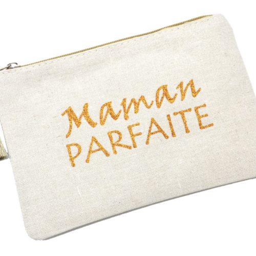 Trousse-Pochette-Toile-Message-Maman-Parfaite-Paillettes-et-Pompon-Dore