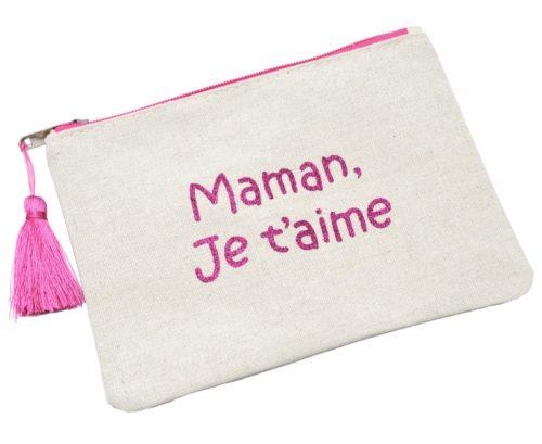 Trousse-Pochette-Toile-Message-Maman-Je-t-aime-Paillettes-et-Pompon-Fuchsia