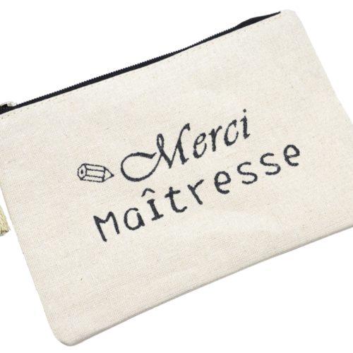 Trousse-Pochette-Toile-Message-Merci-Maitresse-Paillettes-Noir-et-Pompon-Doré