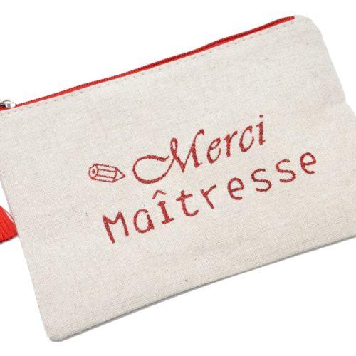 Trousse-Pochette-Toile-Message-Merci-Maitresse-Paillettes-et-Pompon-Rouge
