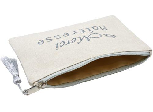 Trousse-Pochette-Toile-Message-Merci-Maitresse-Paillettes-et-Pompon-Argente
